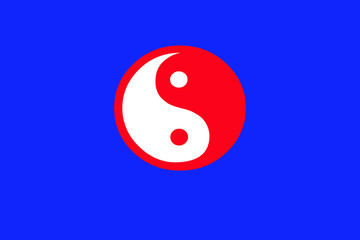 yin and yang symbol on blue background