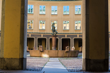 Square of Branting or Brantingtorget with the female nude statue of Mormon or Morning, Gamla Stan, Stockholm, Sweden