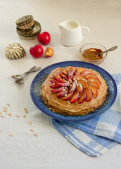 Pancake pie with caramel cream and fruit
