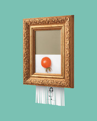 Vintage frame with a Self-destructive picture of a smiling girl holding a balloon, made of tomato, on a blue background. The symbol of modern art.