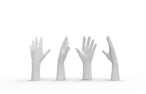 White Mannequin Hands Set on a white background. 3d image, 3d rendering