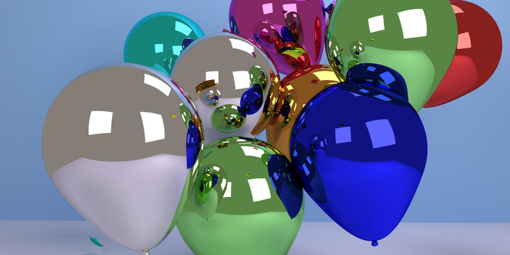 3D colorful ballons and confetti