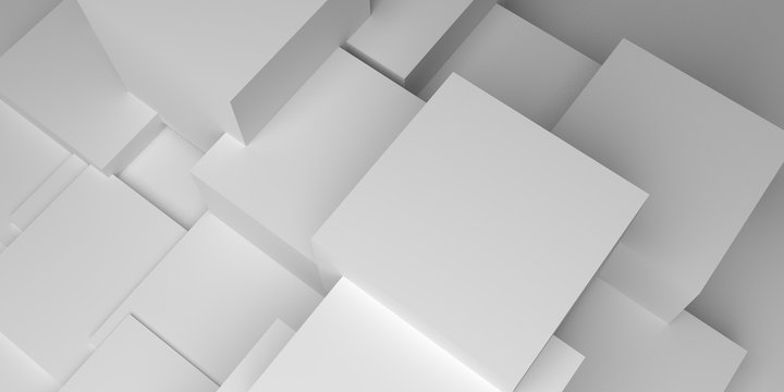 3D white cubes background illustration