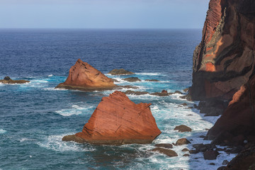 Canvas Prints Magenta Cliffs view on East coast of Madeira island. Ponta de Sao Lourenco. Portugal.