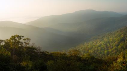 Old Rag Mountain in Morning Haze. Shenandoah National Park.