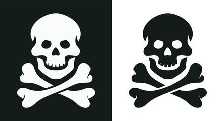 Skull and bone. Jolly Roger. Pirate symbol. Isolated white background. Eps10 vector illustration.