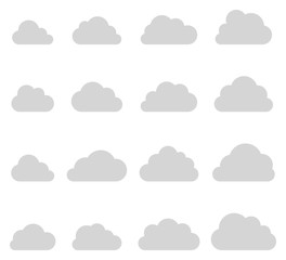 Cloud shapes collection, thin lines icons