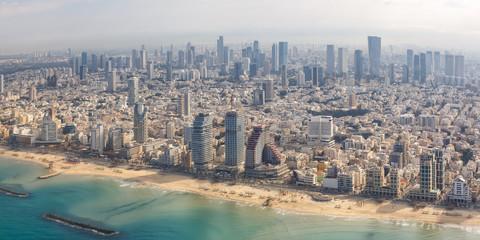 Tel Aviv Skyline Panorama Israel Strand Stadt Meer Luftbild Hochhäuser