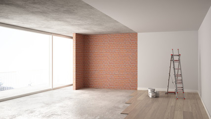 Home renovation, restructuring process, repair and wall painting, construction concept. Brick and painted walls, parquet floor, walls laying and covering, architecture interior design