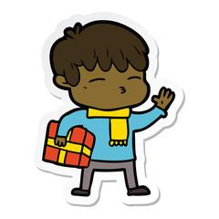 sticker of a cartoon curious boy