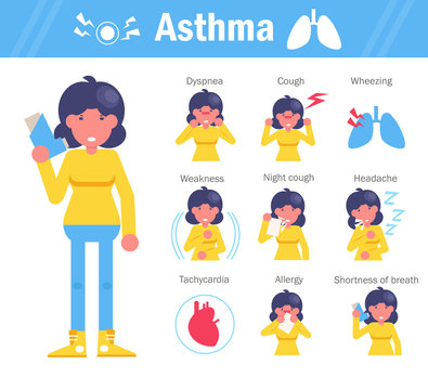 Asthma symptoms Vector. Cartoon. Isolated art on white background. Flat