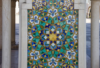 Wall Mural - Casablanca mosque decorative element, Morocco. Mosaic tile, ceramic decoration of Hassan II Mosque