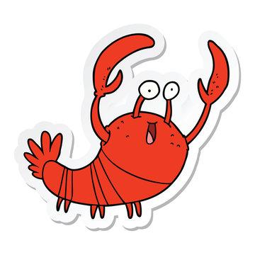 sticker of a cartoon lobster