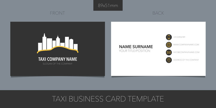 Taxi, cab vector layout of business card with logo, icon and template corporate details