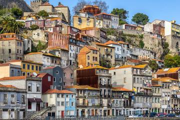 Colourful houses in Riberia in Porto