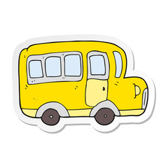sticker of a cartoon yellow school bus