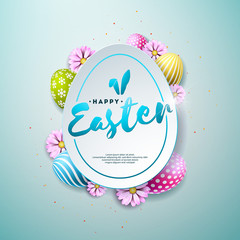 Vector Illustration of Happy Easter Holiday with Painted and Spring Flower on Shiny Blue Background. International Celebration Design with Typography for Greeting Card, Party Invitation or Promo