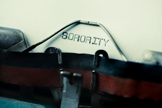 text sorority written with an old typewriter