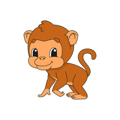 Brown monkey. Cute flat vector illustration in childish cartoon style. Funny character. Isolated on white background.