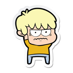 sticker of a annoyed cartoon boy