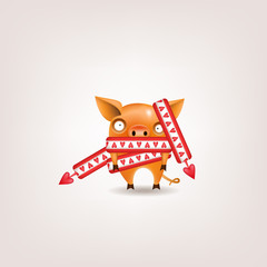 The symbol of the year for Valentine's Day is a funny orange piglet wrapped in a scarf with hearts posing on a light background. Vector illustration.