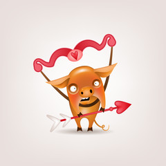 The symbol of the Valentine's Day year is a funny orange pig posing with a bow and arrow of cupid on a light background. Vector illustration.