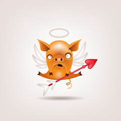 The symbol of the year for Valentine's Day is a funny orange pig posing as a cupid on a light background. Vector illustration.