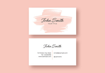 Business Card Layout with Pink Brush Stroke Illustration