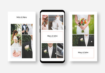 Social Media Wedding Post Layout Set with Pink Accents