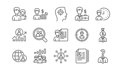Human resources icons. Head Hunting, Job center and User. Interview linear icon set.  Vector