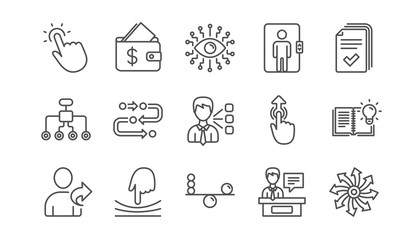 Artificial intelligence, Balance and Refer friend line icons. Timeline path, Cash wallet. Linear icon set.  Vector
