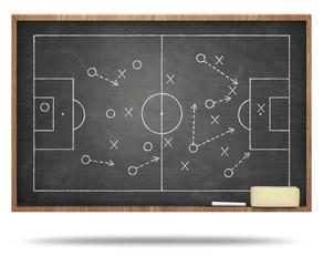 Soccer fied on blackboard