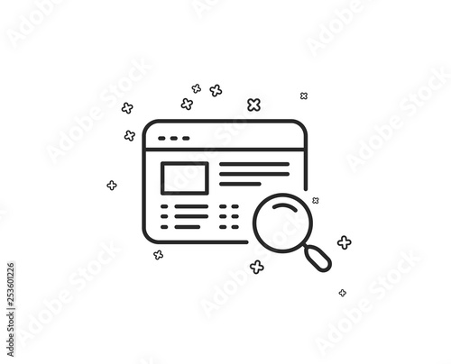 Website search line icon  Find internet page results sign  Geometric