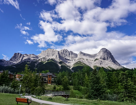 Mountain ridge along the Three Sisters PathwayTrail in Canmore, Alberta Canada