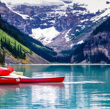 Lake Louise in Banff National Park in the Rocky Mountains of Alberta Canada