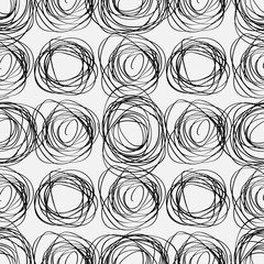 Hand drawn scribbles seamless pattern and geometric elements.