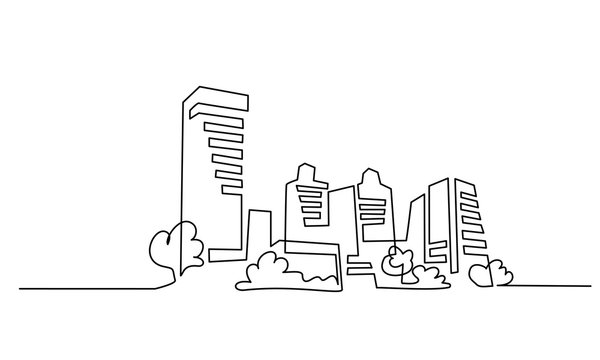Building Cityscape One Line drawing Art Silhouette