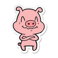 sticker of a nervous cartoon pig