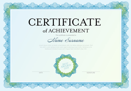 Blue and Green Certificate of Achievement Layout