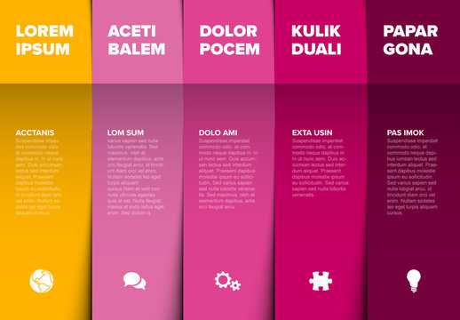 Yellow, Pink, and Purple Infographic Layout