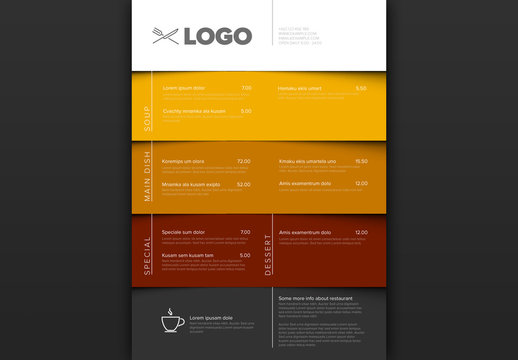 Layered Menu Layout with Brown and Yellow Elements