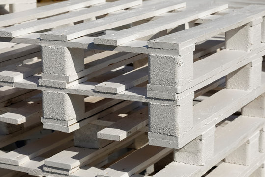 Wooden pallets stacked on top of each other