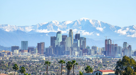 Downtown Los Angeles view from Kenneth Hahn Park, California Wall mural
