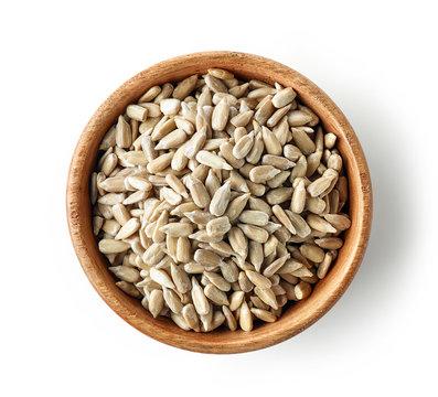 wooden bowl of sunflower seeds