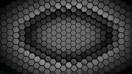 Wall Mural - black and white material hexagons background template. 3d Render