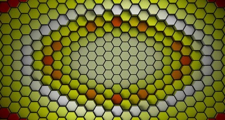 Wall Mural - red and white material hexagons background template. 3d Render