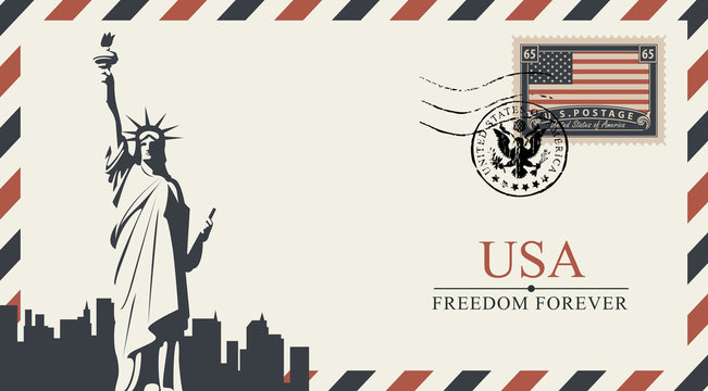 Vector postcard or envelope with New York Statue of Liberty and inscriptions. Postcard with postmark in form of coat of arms and postage stamp with flag of United States of America