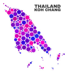 Mosaic Koh Chang map isolated on a white background. Vector geographic abstraction in pink and violet colors. Mosaic of Koh Chang map combined of random spheric elements.