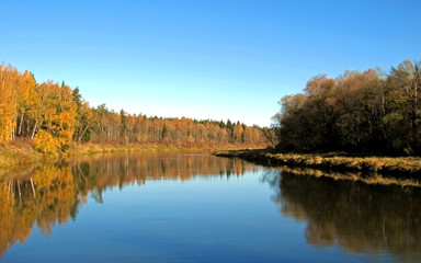 Autumn landscape of Gauja river valley and colorful forest reflection in mirror water