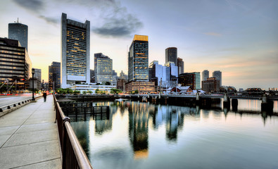 Boston harbor and skyline, financial district